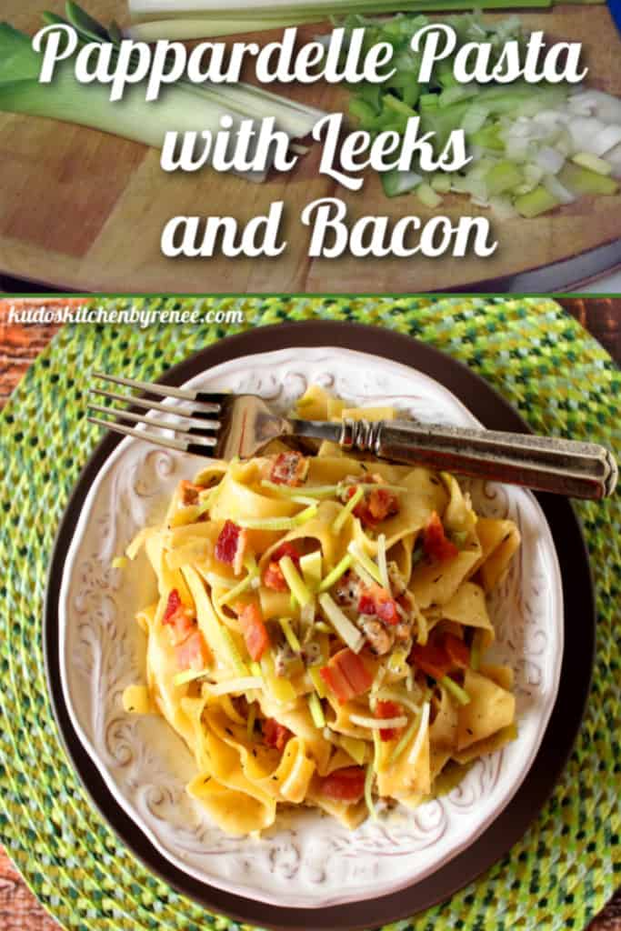 A title text collage image of easy pappardelle pasta recipe on a white plate with chopped leeks, bacon, and black pepper.