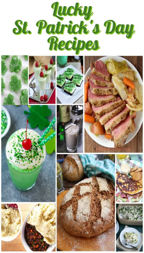 Vertical title text collage images for lucky St. Patrick's day recipe roundup.