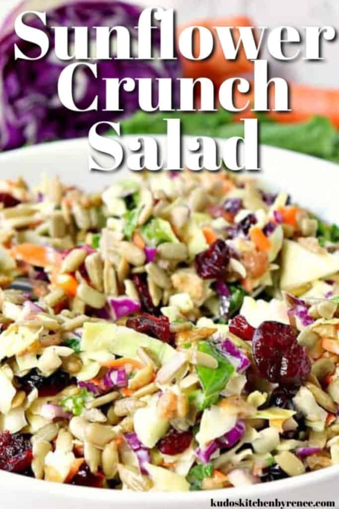 Vertical closeup title text image of colorful sunflower crunch copycat chopped salad.