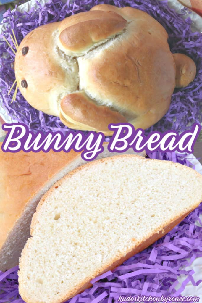 Overhead collage image of an entire German bunny bread and a slice of bunny bread.