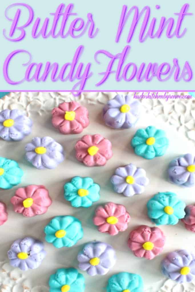 A vertical closeup overhead photo of colorful butter mint candy flowers with title text font.