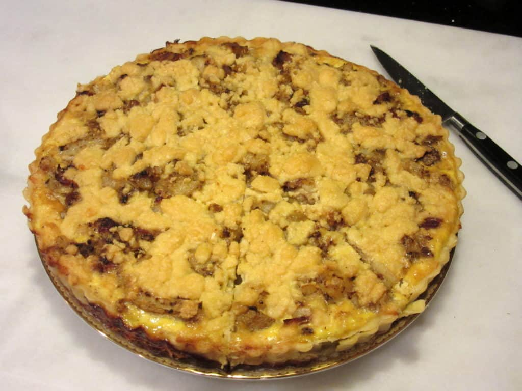 Baked Dubliner cheese and potato tart.
