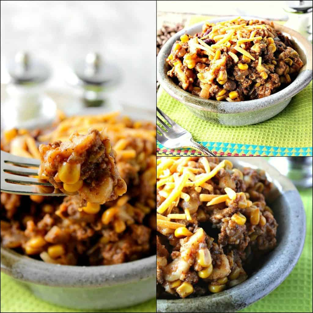 Collage image of budget-friendly slow cooker chili mac recipe with ground beef, elbow macaroni, corn, and cheese.