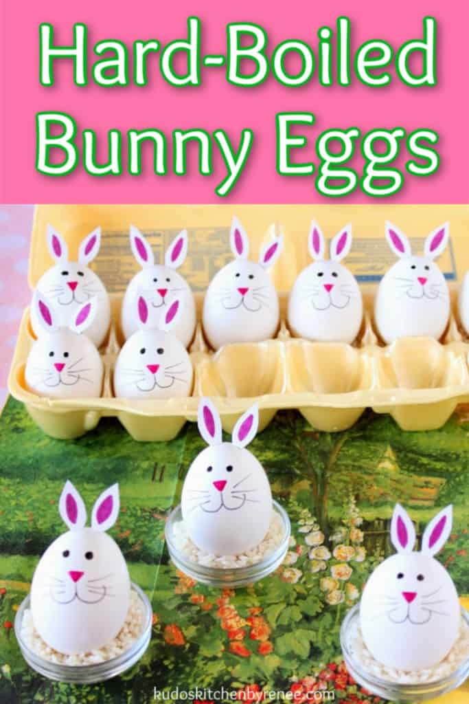 A vertical title text photo of a bunch of cute little hard-boiled bunny eggs in an egg carton and in little egg cups.