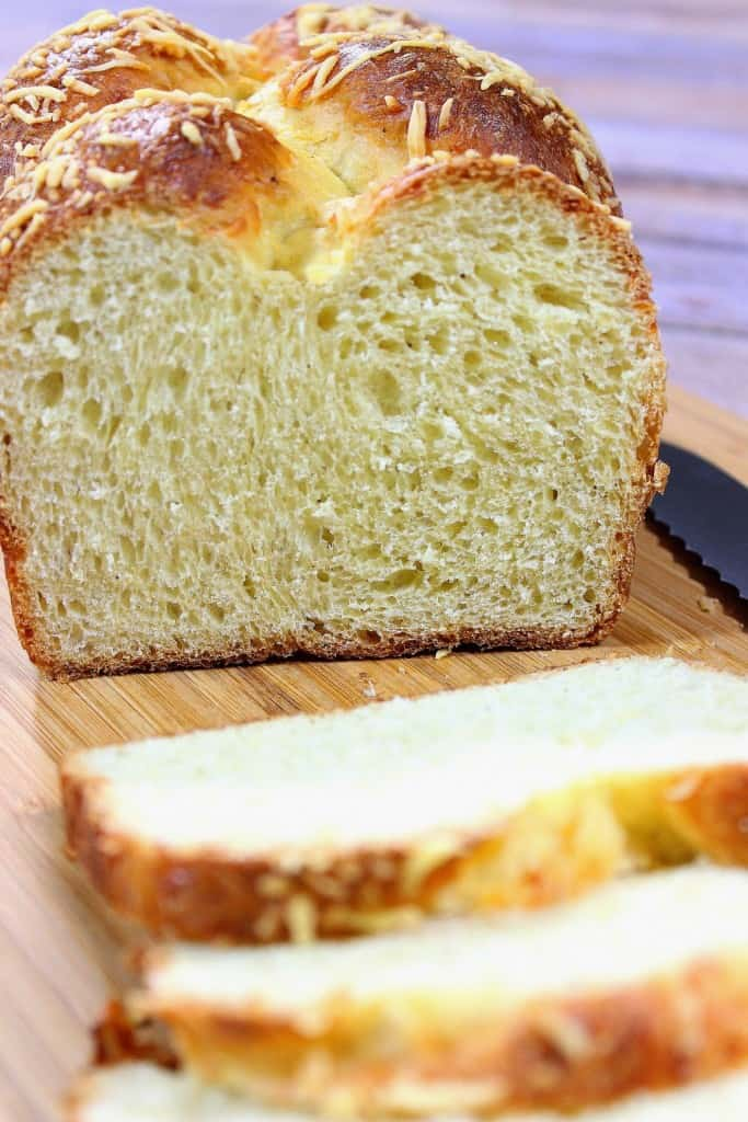 Closeup vertical image of the interior crumb and texture of an Italian Easter cheese bread
