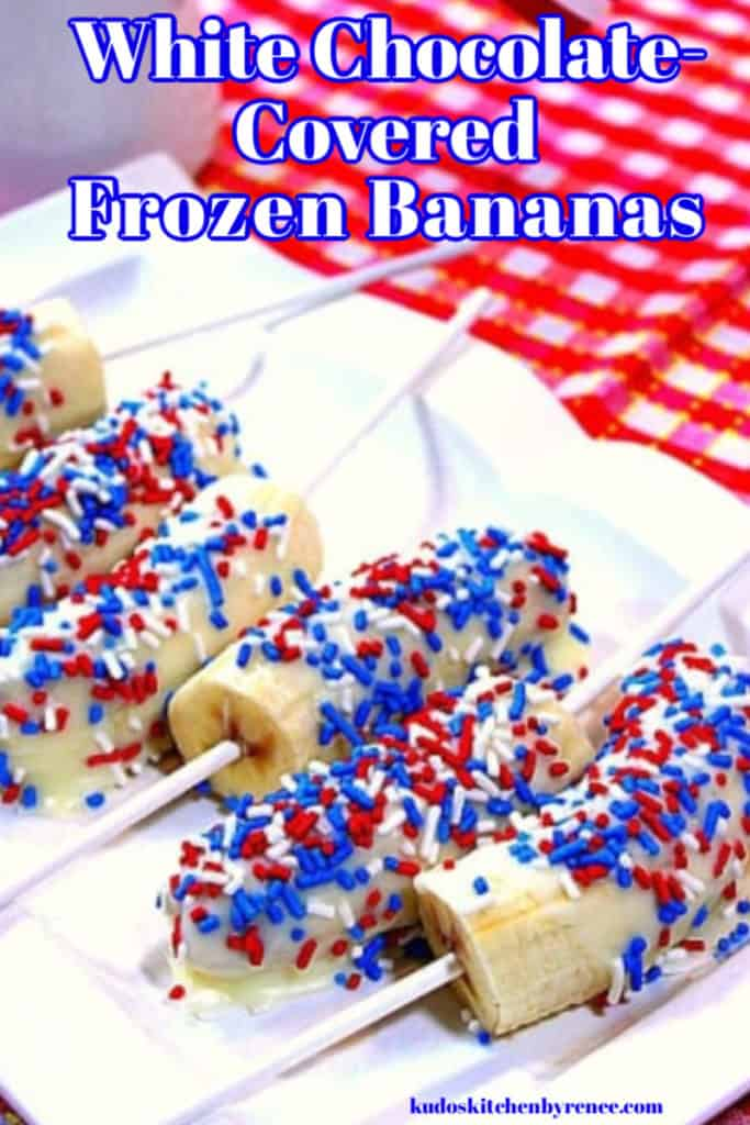 A closeup image of white chocolate covered frozen bananas on a plate with red, white, and blue sprinkles.