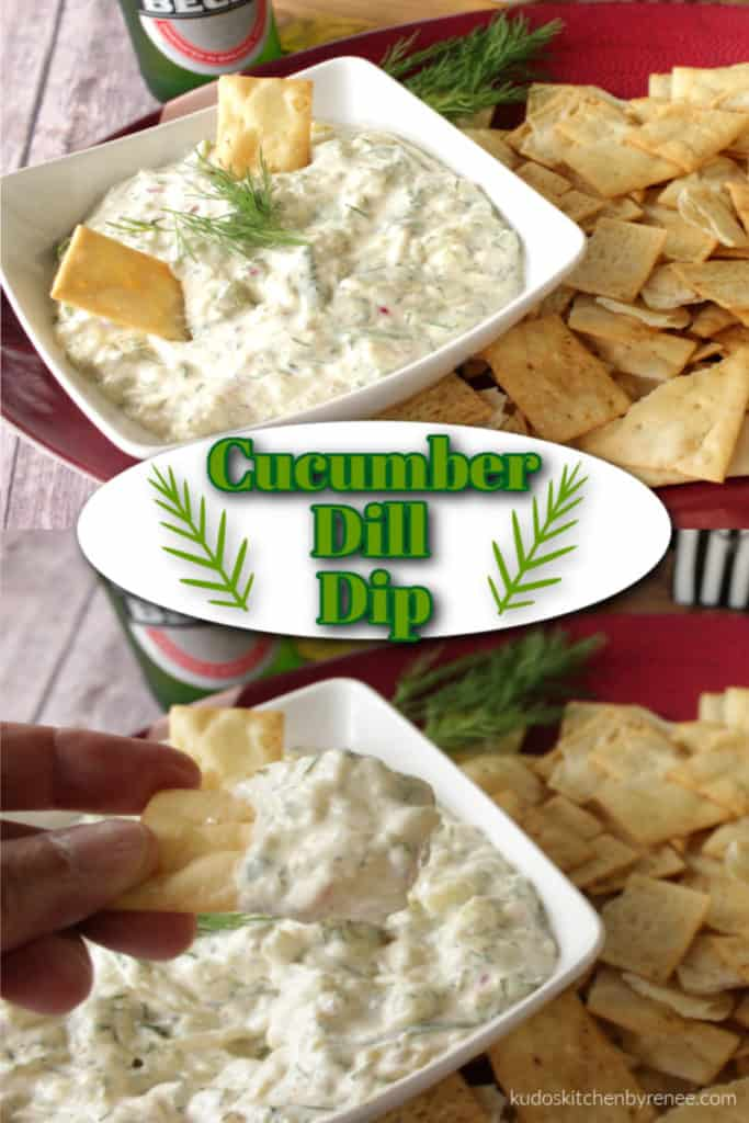 Vertical photo collage of cucumber dill dip with title text overlay graphic with dill weed illustrations.