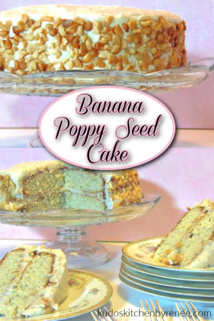 A photo collage of a banana poppy seed cake with a title text overlay graphic