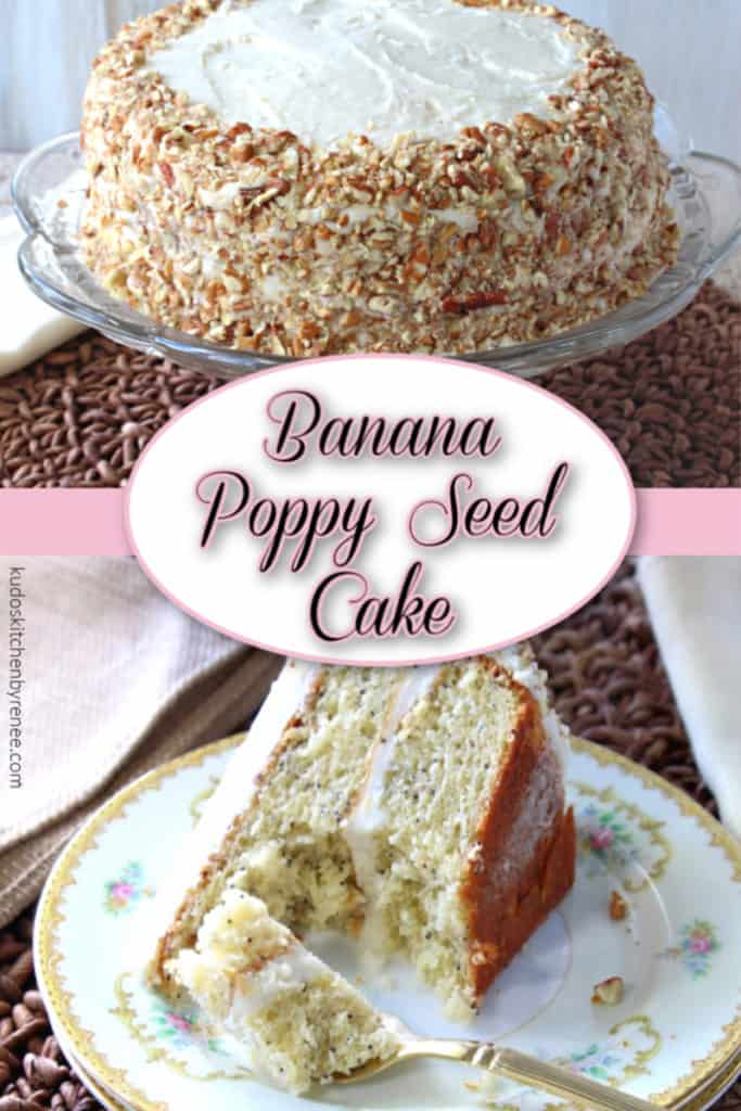 A vertical title text overlay collage image of banana poppy seed cake with banana buttercream frosting