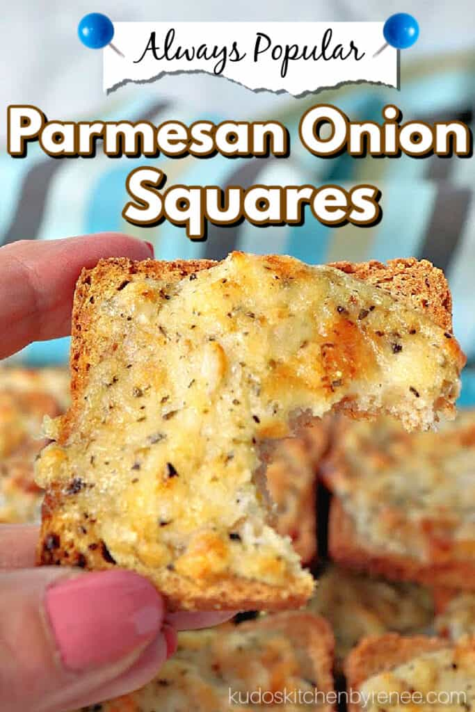 A vertical closeup image of a Parmesan Onion Square with a bite taken out and a title text overlay graphic