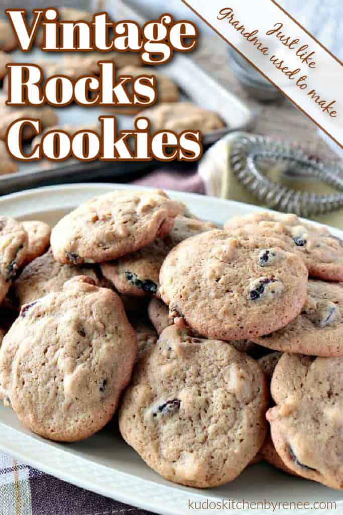 A vertical closeup photo of a pile of vintage rocks cookies on a plate with a title text overlay graphic