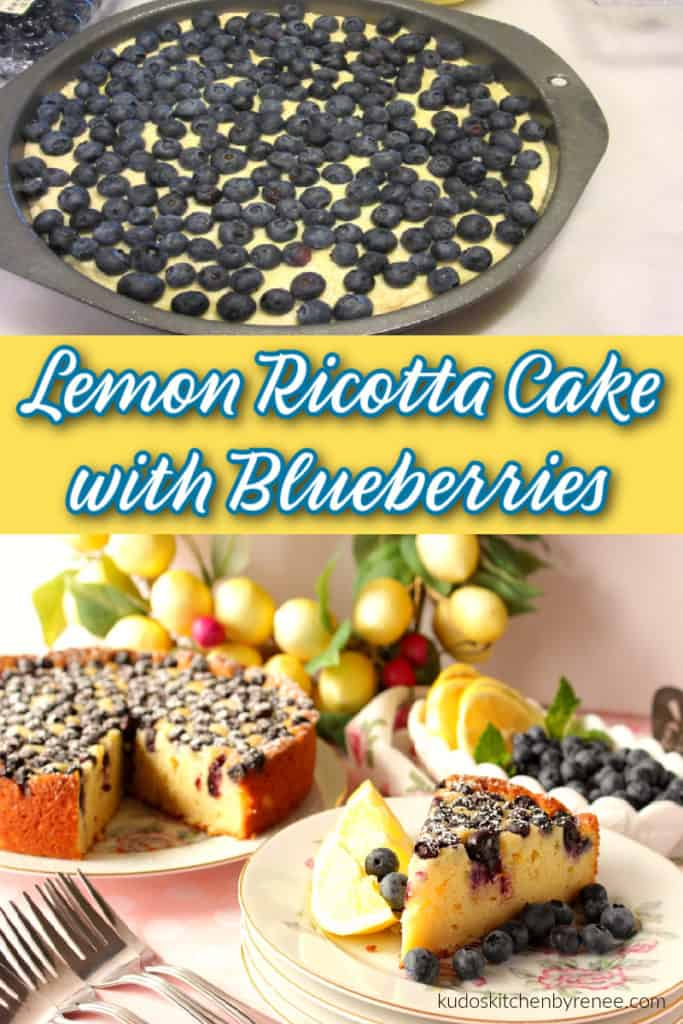 A vertical photo collage of lemon ricotta cake with blueberries, lemon wedges and a lemon wreath in the background along with a title text overlay graphic