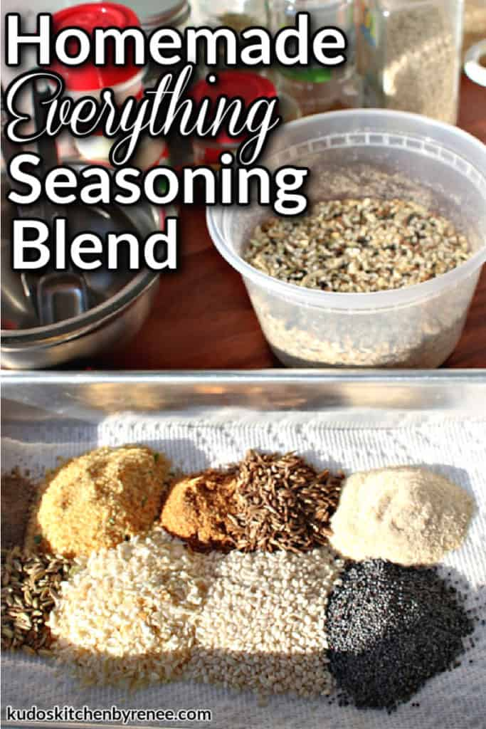 A vertical closeup image of homemade everything seasoning blend on a tray with a plastic container of the blend in the background along with a title text graphic overlay
