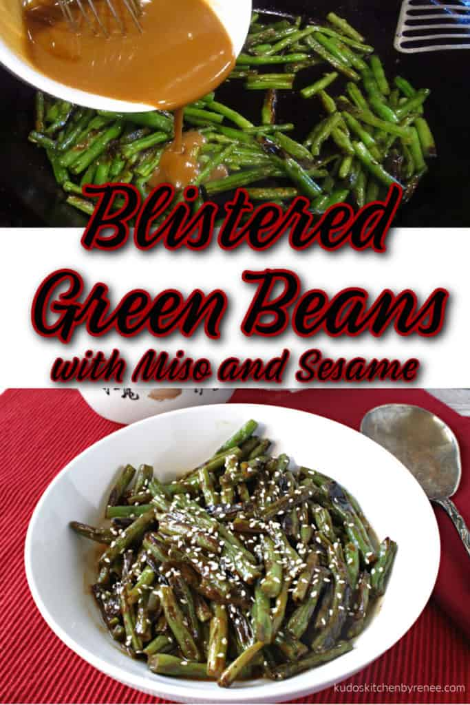 A vertical collage image of blistered green beans with miso sauce and a title text overlay graphic