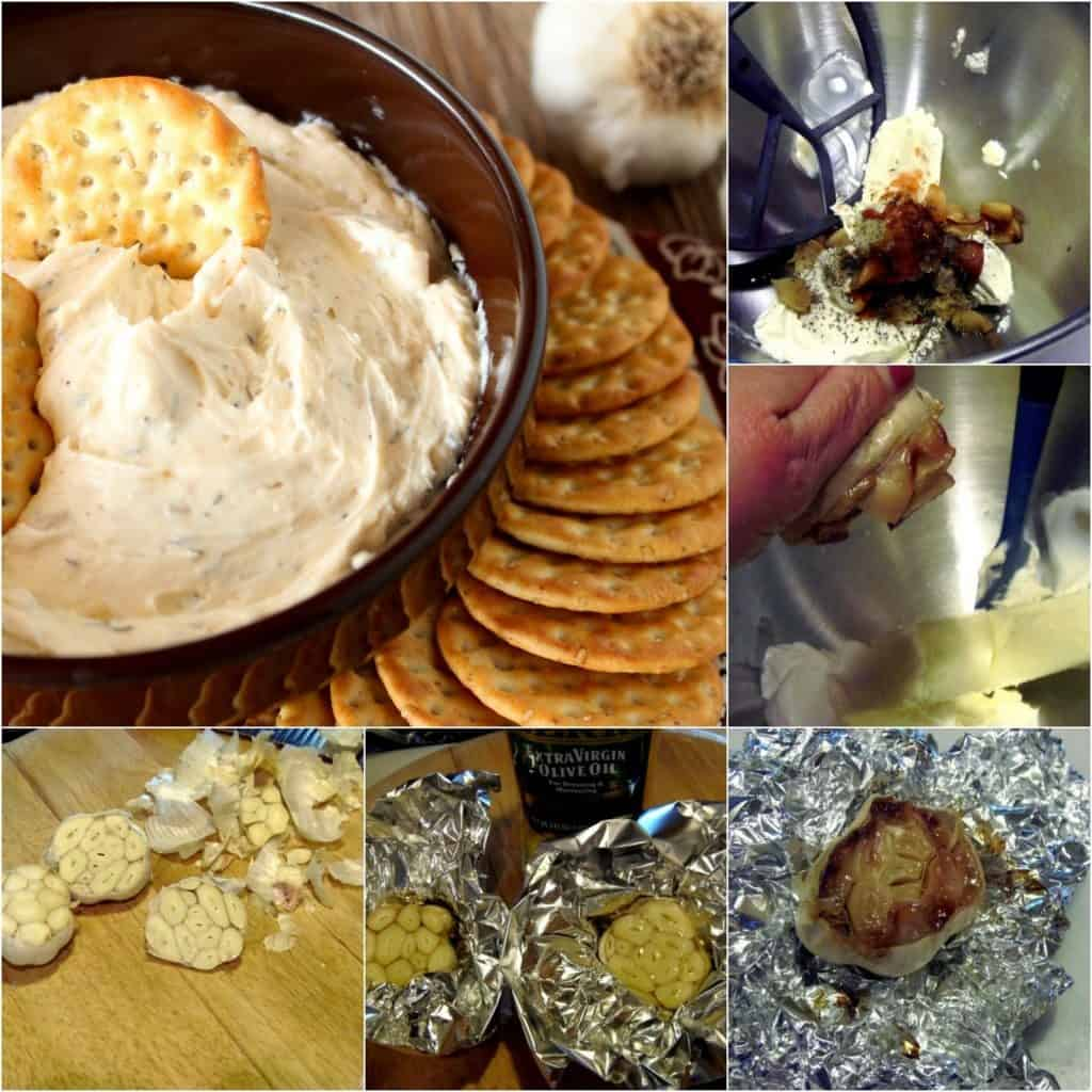A full photo collage of roasted garlic dip with step by step image instructions to make the recipe.