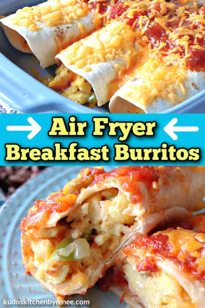 A vertical collage image of air fryer breakfast burritos with a title text overlay graphic