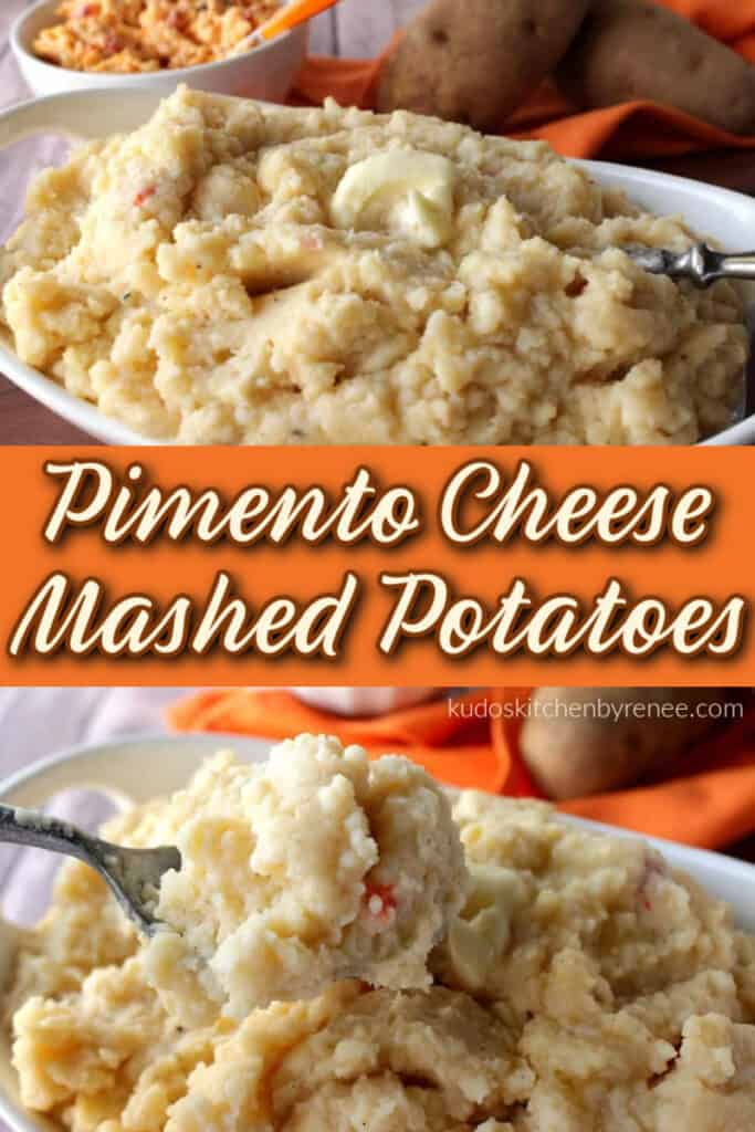 A stacked photo collage of Pimento Cheese Mashed Potatoes in a bowl with a title text overlay graphic in the center.