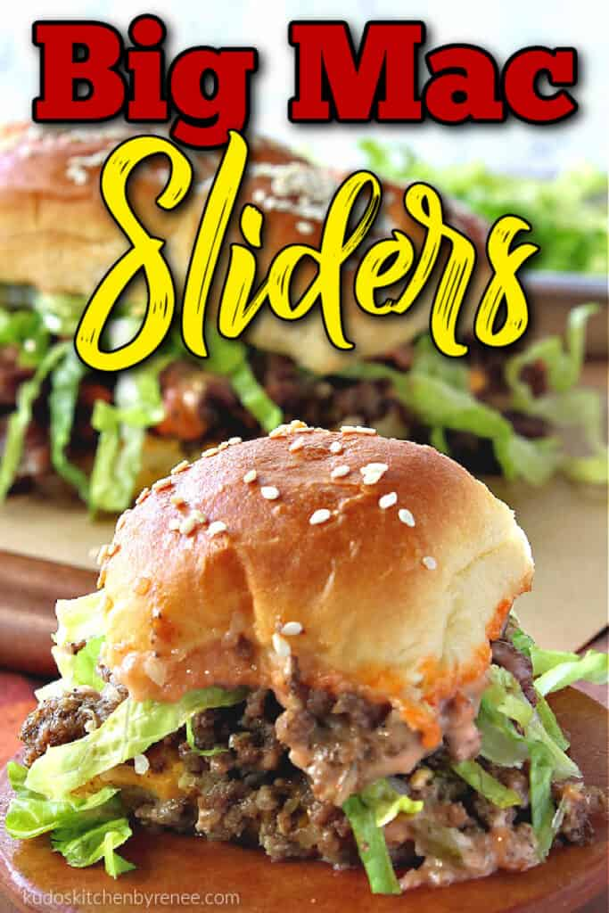 A closeup of a big mac sliders with a red and yellow title text overlay graphic