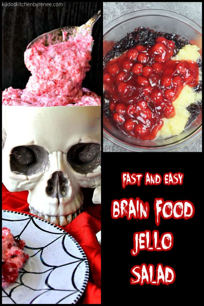 A photo collage along with a title text overlay graphic for brain food jello salad.