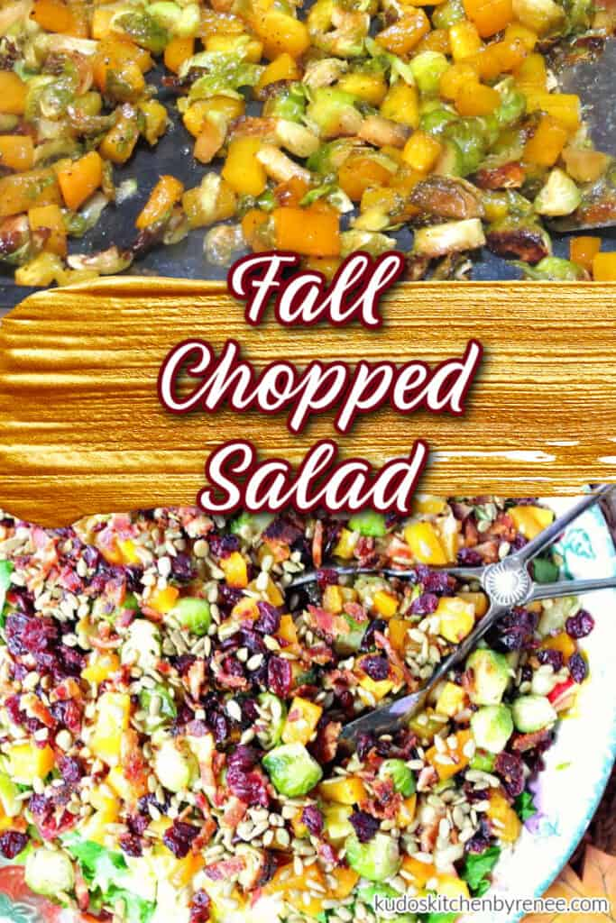 A vertical collage image of a colorful fall chopped salad with a title text overlay graphic