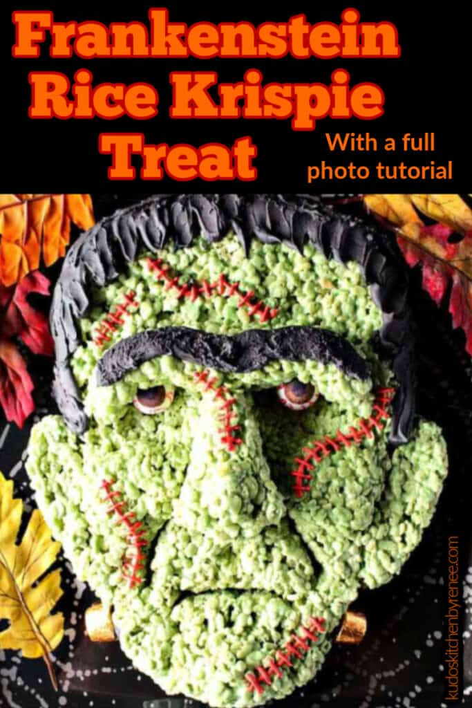 Overhead closeup photo of a realistic looking Frankenstein Rice Krispie Treat with stitches and gumball eyes along with a title text overlay graphic.