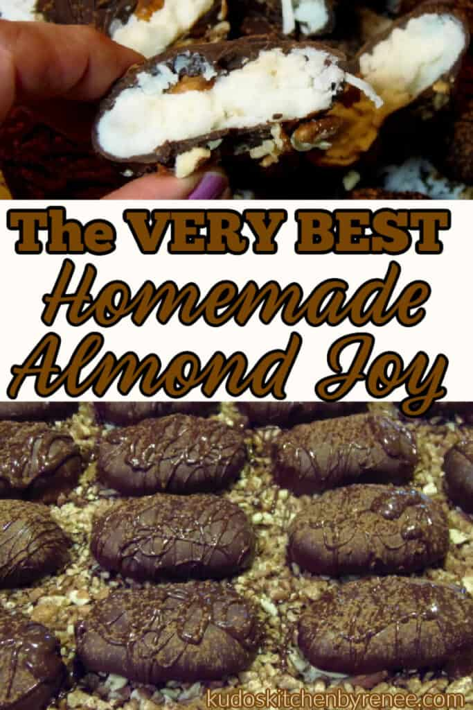 A photo collage of homemade almond Joy candy with a title text overlay graphic in brown and black