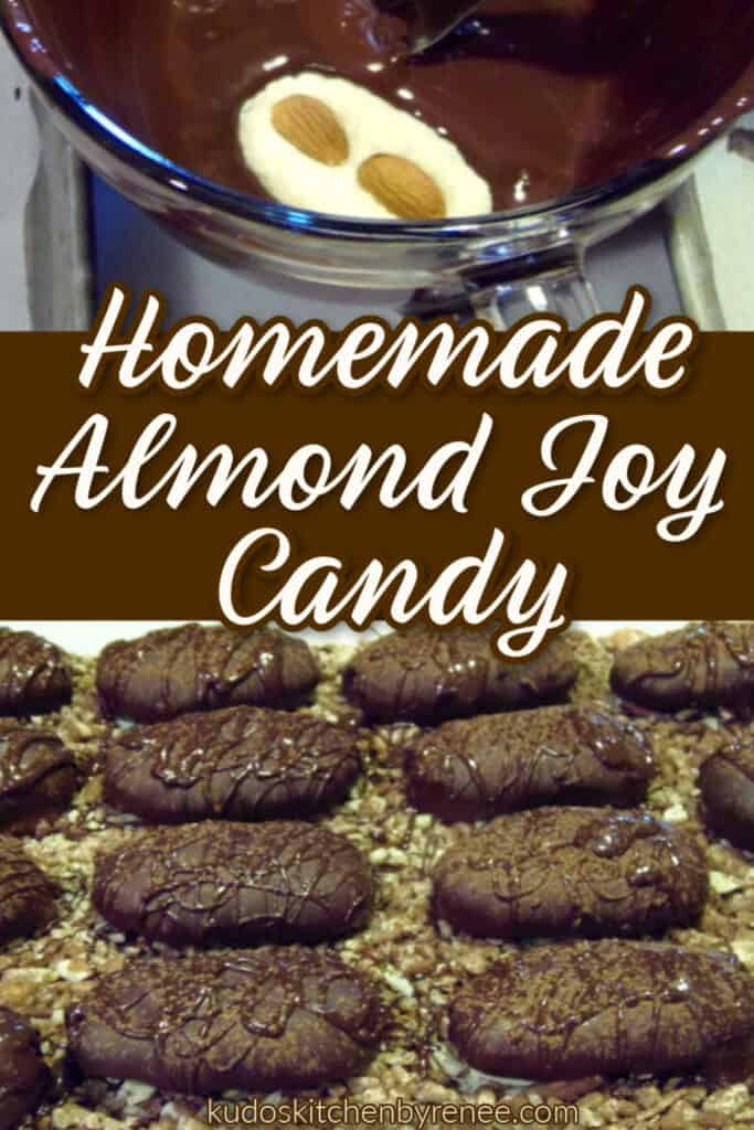 A photo collage of homemade almond joy candy with extra nuts and a title text overlay graphic in brown and white
