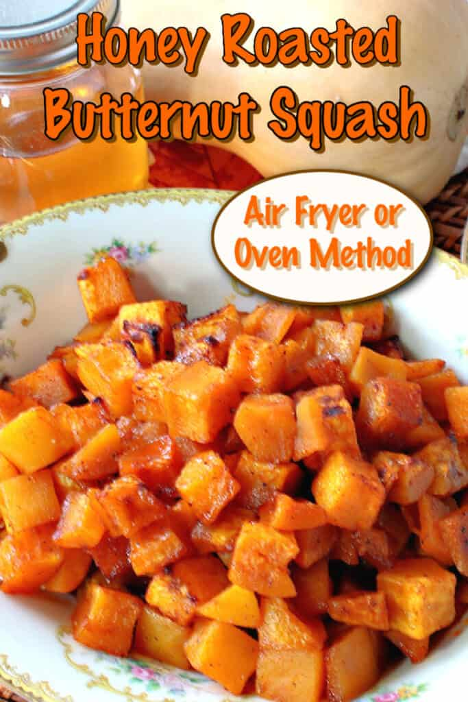 A vertical closeup of pretty orange honey roasted butternut squash in cubes with a title text overlay graphic