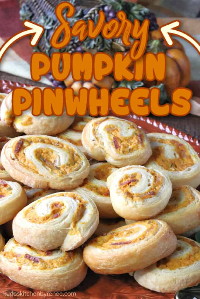 A closeup vertical image of savory pumpkin pinwheels with bacon and sage along with a title text overlay graphic.