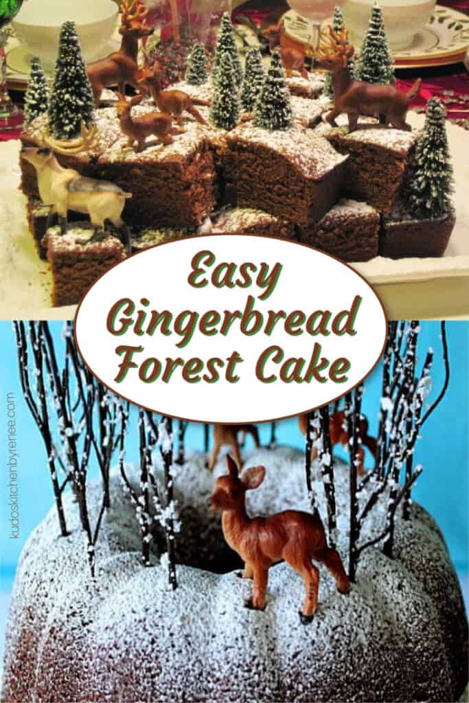 A photo collage of two types of Gingerbread Forest Cake along with a title text overlay graphic.