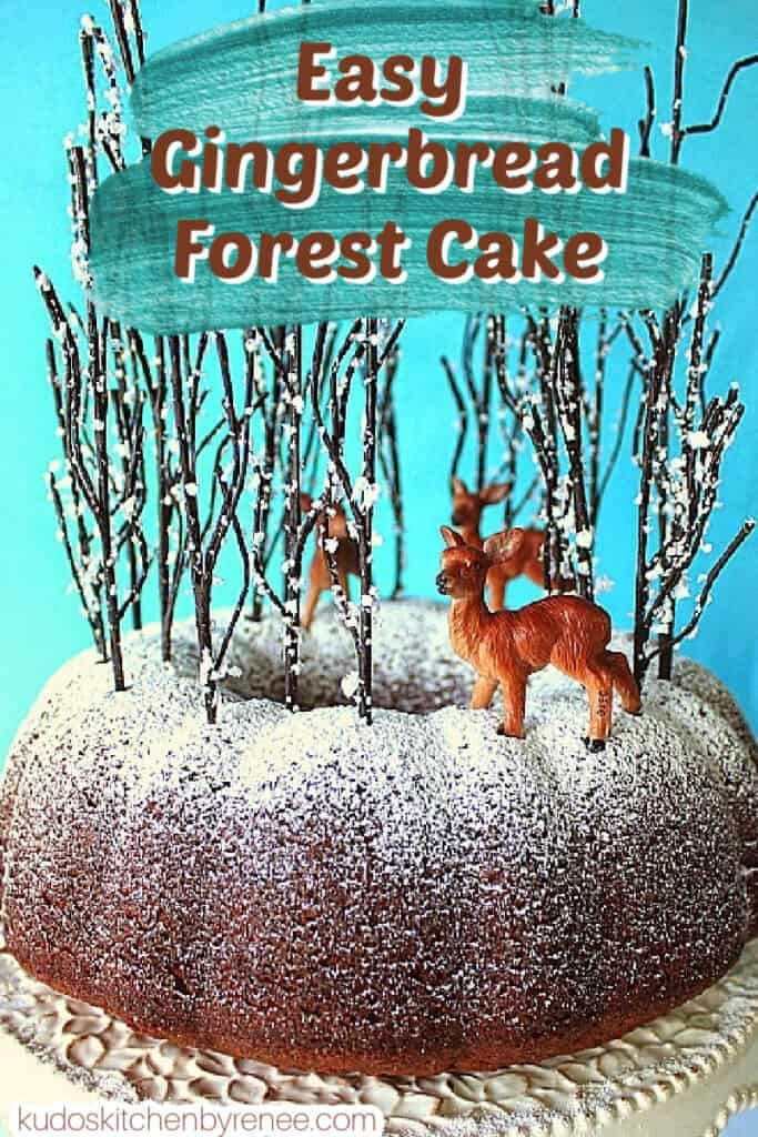 A closeup vertical photo of a Gingerbread Forest Cake on a blue and white background with a blue paint swatch and a title text overlay graphic.