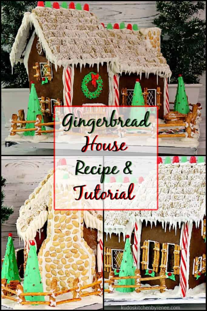 A square photo collage of a Gingerbread House Recipe and Tutorial with gum drops, royal icing and peppermint candy along with a title text overlay graphic.
