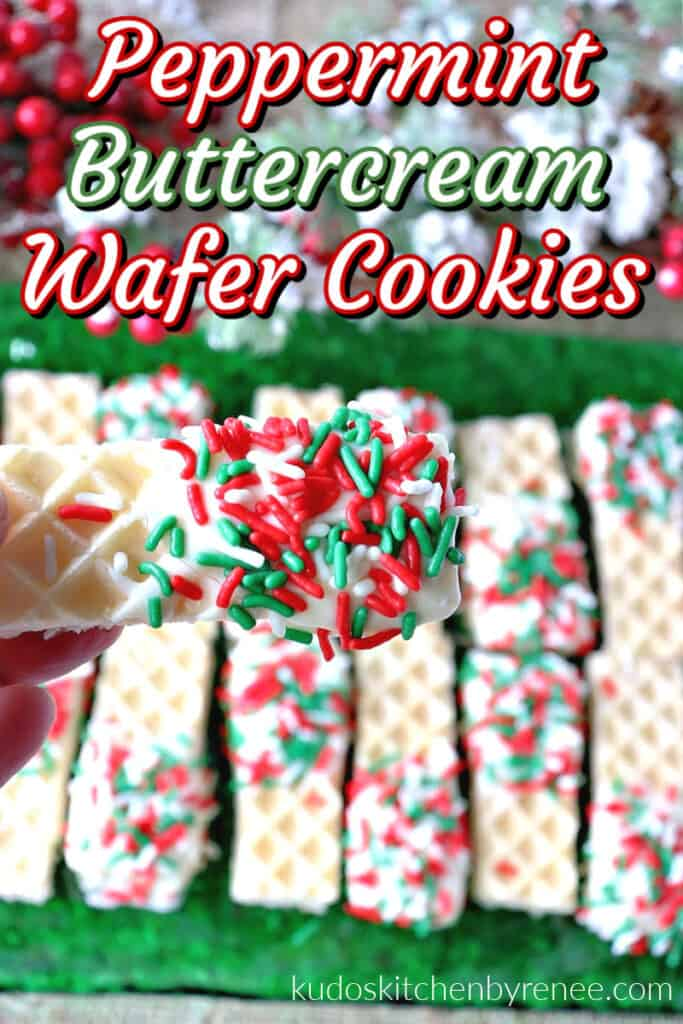 Vertical closeup image of a Peppermint Buttercream Wafer Cookie with white chocolate and sprinkles and a title text overlay graphic.