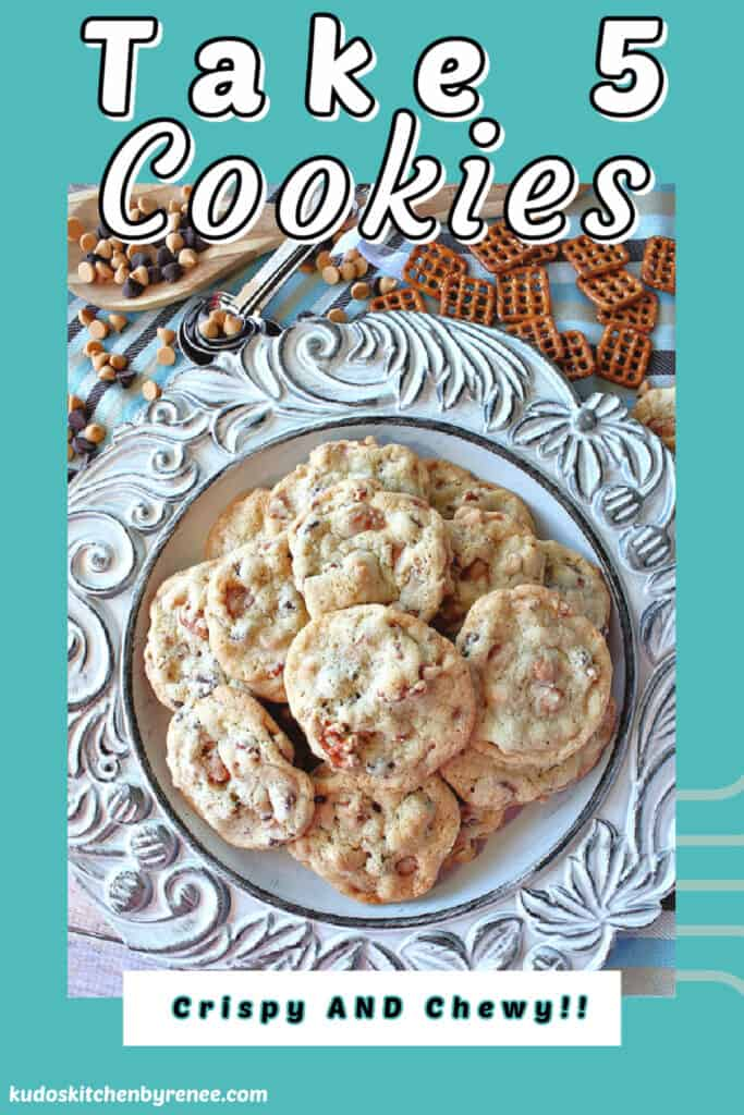 A highlighted vertical image of Take 5 Cookies on a blue scalloped plate with title text overlay graphic.