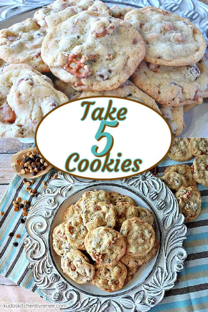 A vertical photo collage of Take 5 Cookies with a title text overlay graphic in the center