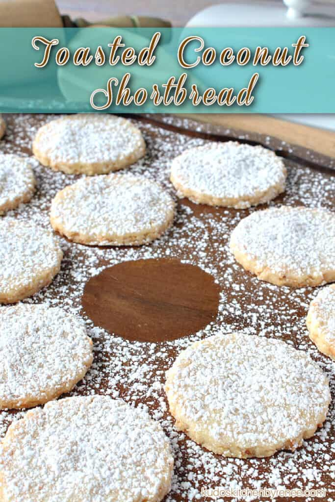 Closeup vertical title text image of round Shortbread Cookies on a wooden platter with one cookie missing.