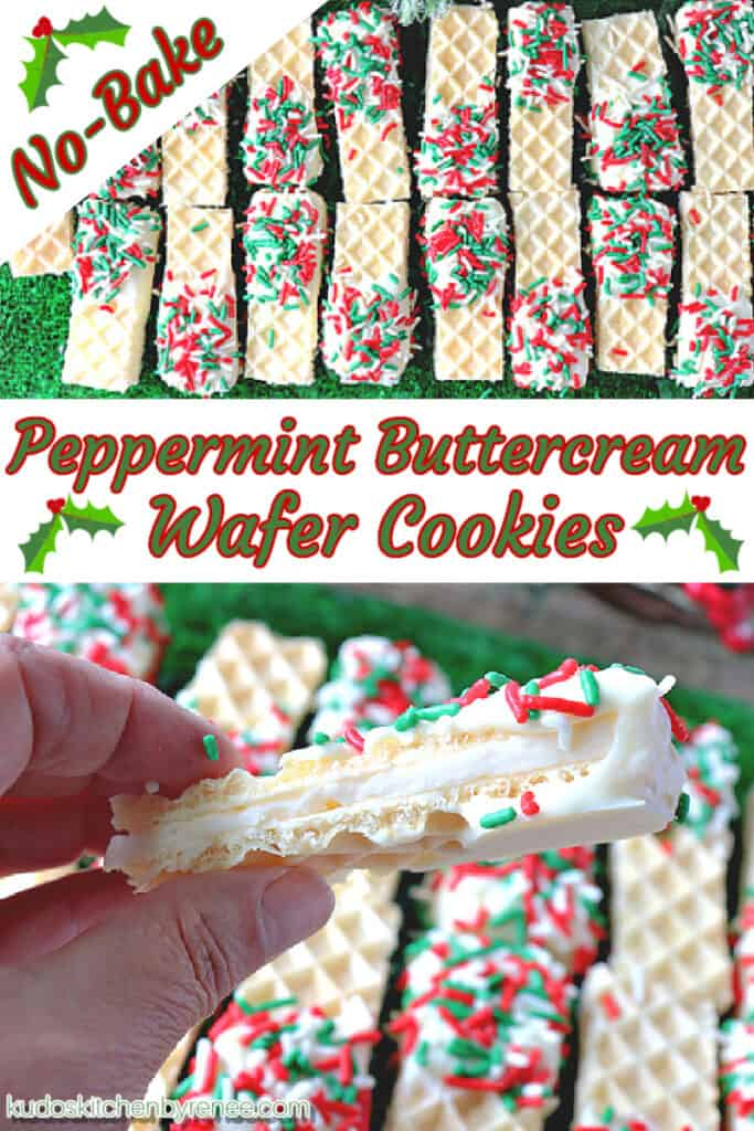 A photo collage with a title text overlay graphic in the center of No-Bake Peppermint Buttercream Wafer Cookies
