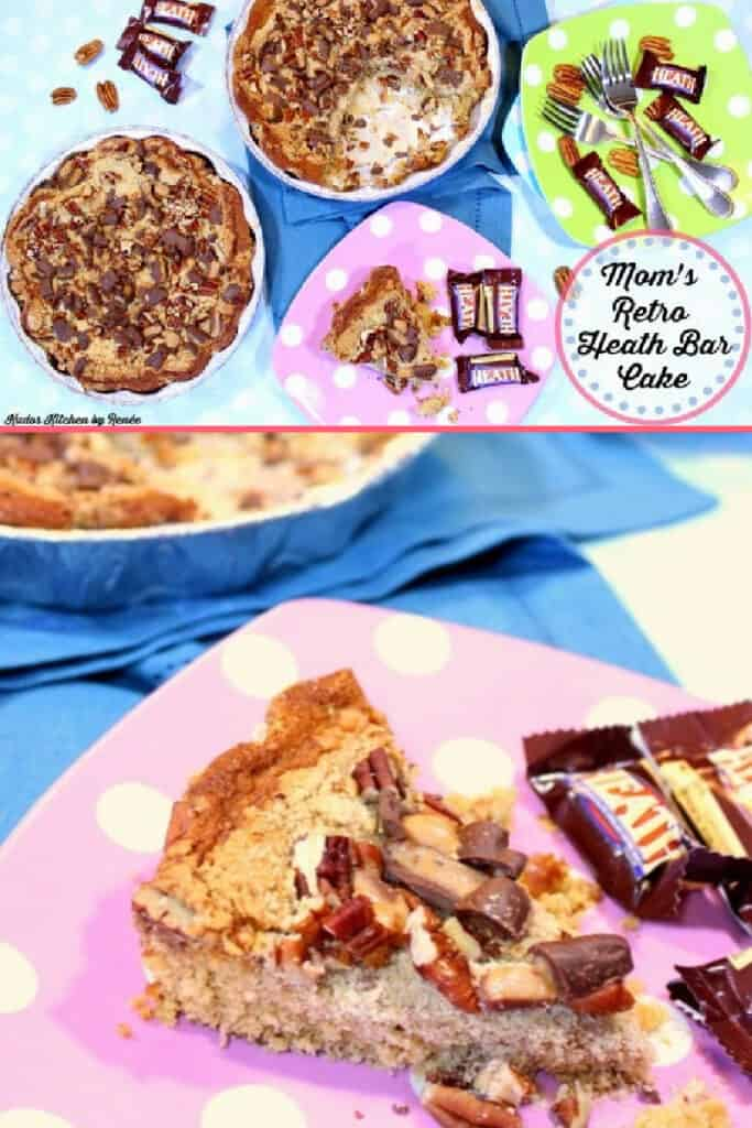 A vertical collage of Retro Heath Bar Cake on colorful polka dot plates with Heath bar candy as garnish.
