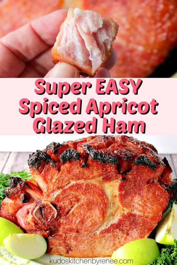 A photo collage image of a glazed sliced ham with apples and parsley and a title text graphic overlay in pink and black.
