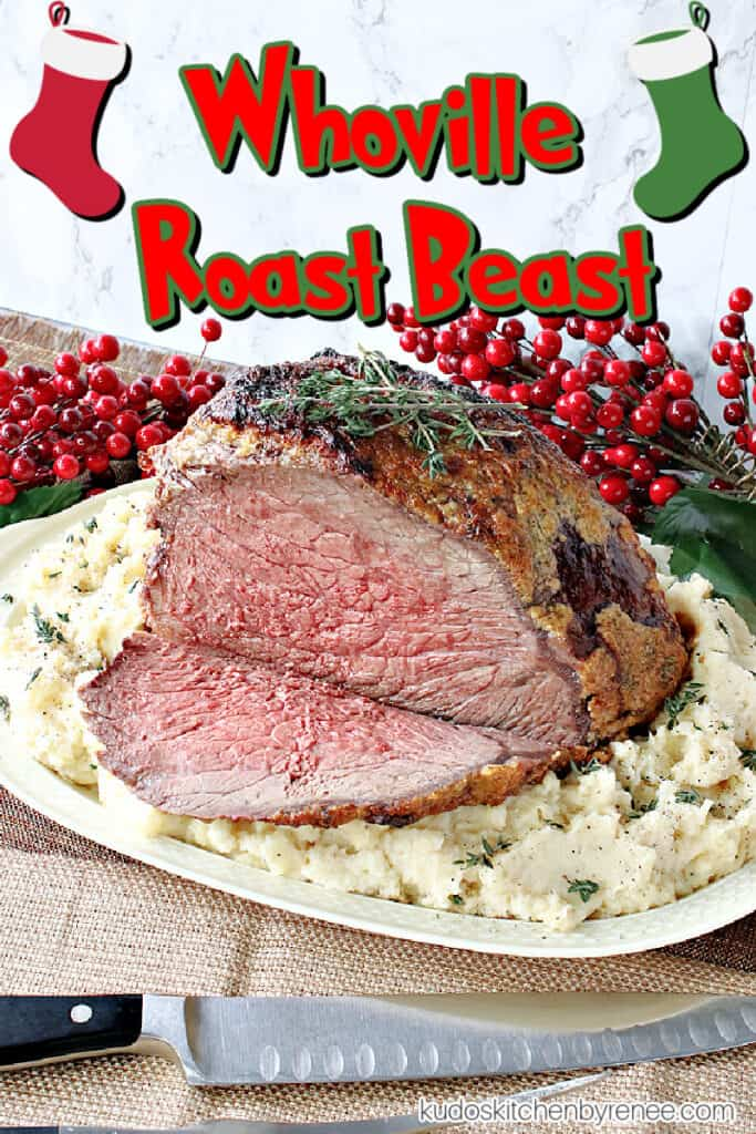 A vertical closeup image of a medium rare Whoville Roast Beast with a carving knife and a cute title text overlay graphic with Christmas stockings.