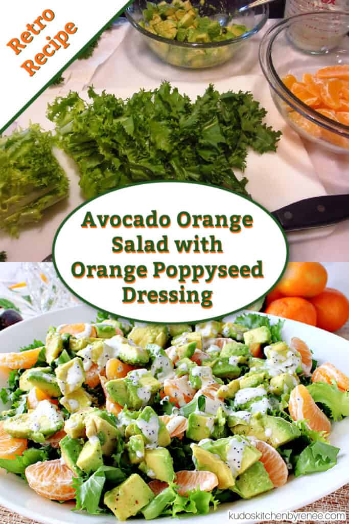 A vertical photo collage of the making of an Avocado Orange Salad with orange poppy seed dressing along with a title text overlay graphic.