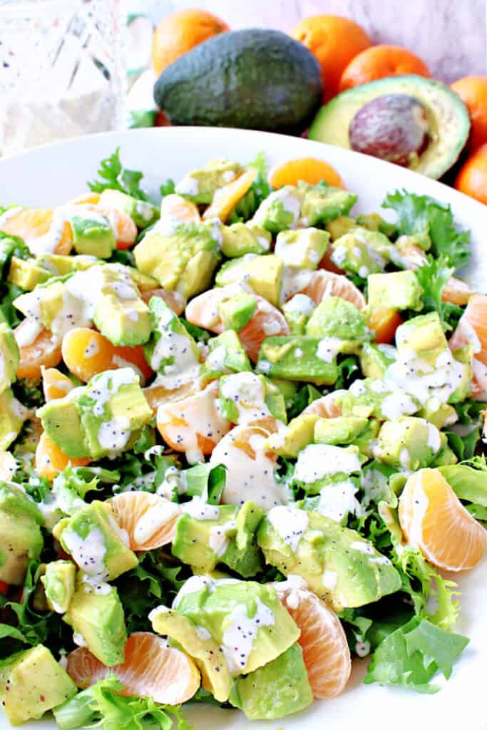 A closeup vertical image of an Avocado Orange Salad drizzled with an orange poppy seed dressing with avocado and oranges in the background.