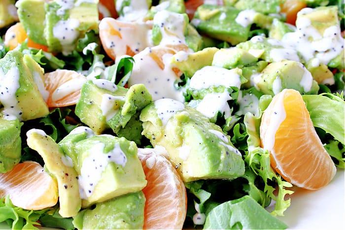 An extreme horizontal closeup photo of an Avocado Orange Salad drizzled with orange poppy seed dressing.