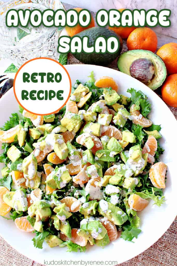 A vertical image of an Avocado Orange Salad in a white bowl with a title text overlay graphic in green, white, and orange.