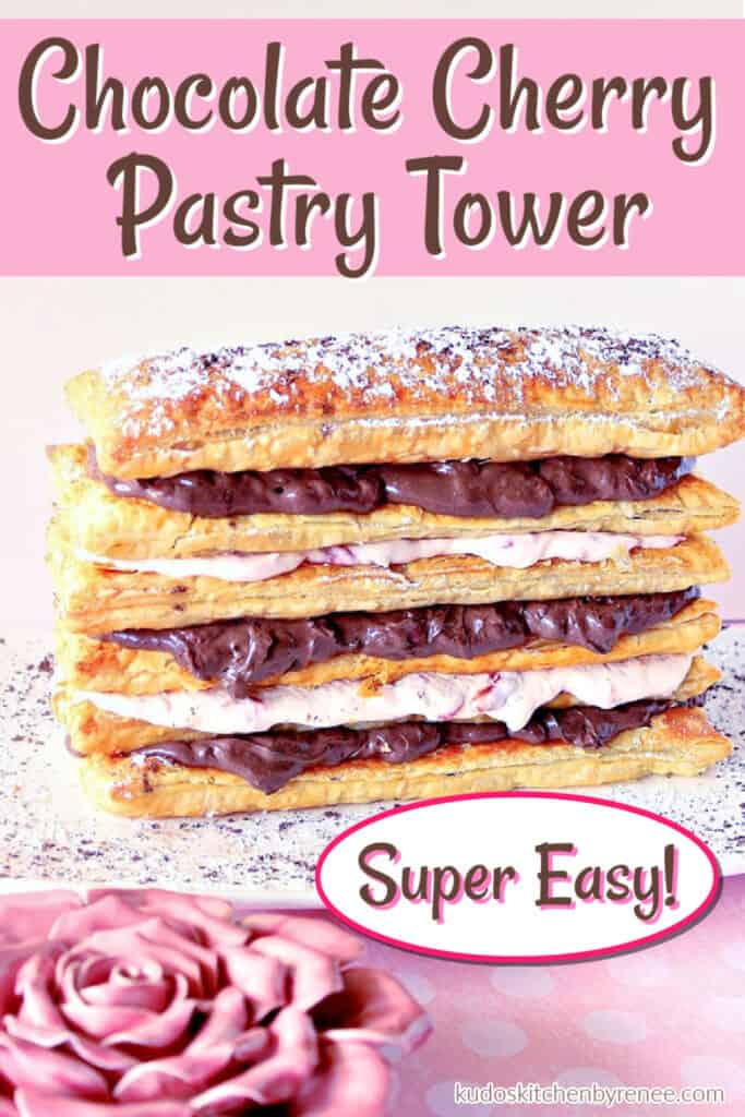 A vertical pink and brown photo of Chocolate Cherry Pastry Tower with a title text overlay graphic in pink and brown.