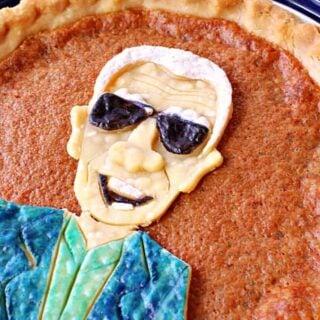 A vertical closeup offset image of a Joe Biden Vinegar Pie with painted crust.
