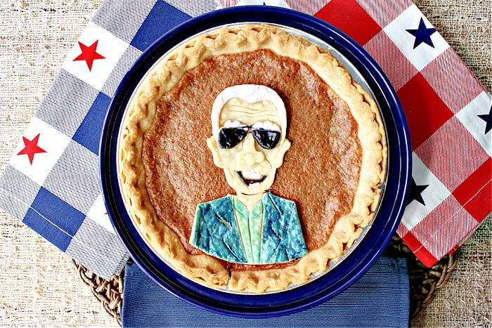 An direct overhead photo of a Joe Biden Vinegar Pie with red, white, and blue napkins with stars.