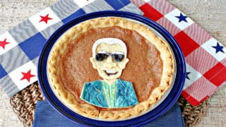 An overhead photo of Joe Biden Vinegar Pie on red, white, and blue napkins with stars.