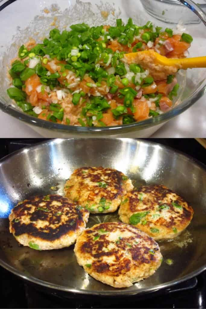A vertical collage image of the making of Miso Salmon Burgers.