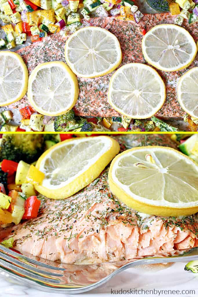 A vertical photo collage of Roasted Rainbow Trout with Rainbow Vegetables, one overhead, and one side view.